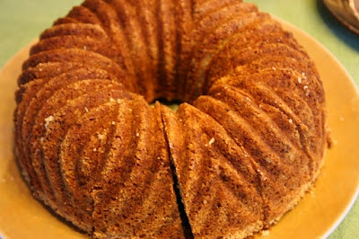 Beautiful and spicy cake with herb sugar.