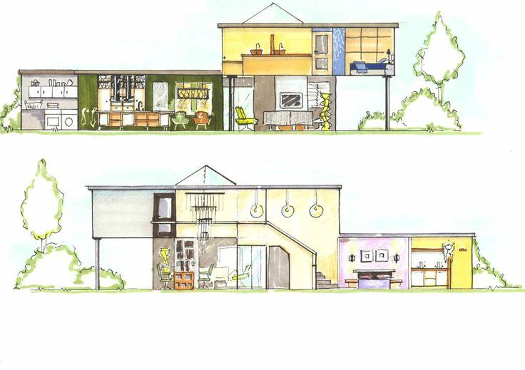 Aanzicht tekeningen Bungalow door Ridesign: Ria Bernards, vrij ontwerp