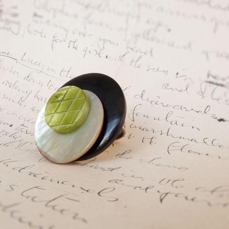 ANELLO con bottoni Vintage blu/bianco/verde : Anelli di paperart-roma