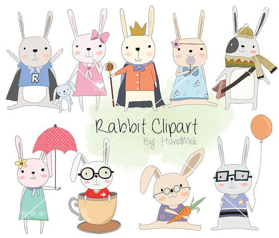 Cute rabbit Clipart bunnies Clipart animal clipart PNG by HandMek
