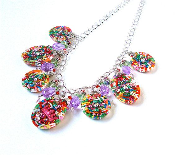 Candy jewelry - colorful candy charm statement necklace ...