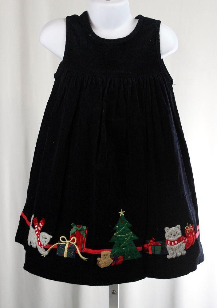 CHRISTMAS Presents Kittens Tree Applique Black Corduroy Sleeveless Holiday Dress #Unbranded #ChristmasHolidayParty