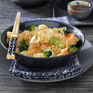 Chicken Noodle Stir-Fry-This uses Ramen Noodle and while it may sound a little crazy, it pretty good.  I have been making this for years.