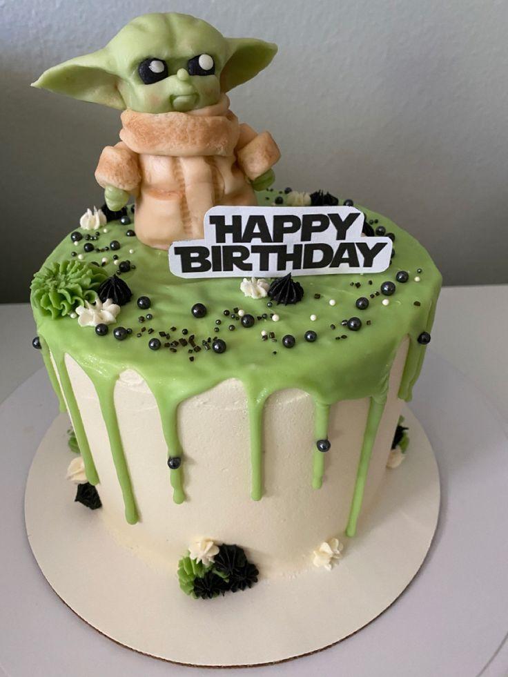 Baby yoda drip cake cake yoda cake minecraft birthday cake