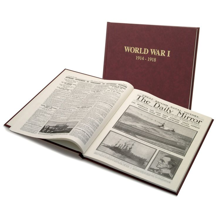 World War One Day by Day. Created using facsimiles of original pages from The Daily Mirror published at the time, this is an absorbing insight on the major events during WWl as it was fought in Europe and elsewhere. Beautifully bound in burgundy leathercloth and tabloid in size, it brings to life the events of the Great War as they were reported day by day when landing on the breakfast tables of Britain.
