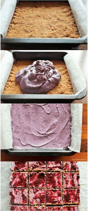 Recept voor vegan blueberry cheesecake van cashews. Lekkere gezonde taart voor op een verjaardag! | It's a Food Life