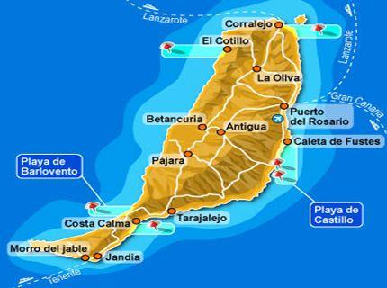 Fuerteventura es la segunda isla más oriental del archipiélago y la más antigua geológicamente. Al norte de la isla hay el parque natural de las Dunas de Corralejo. Fue declarada por la UNESCO, Reserva de la Biosfera.