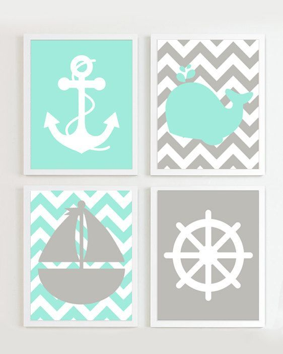 NAUTICAL PRINTS - Chevron Nautical Nursery   Teal Grey set of 4 - Beach Ocean Sea more colors available