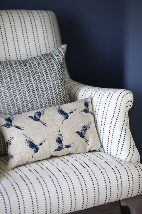 Inky Sky Indigo linen prints for curtains, cushions and blinds fabric. www.zoeglencross.com