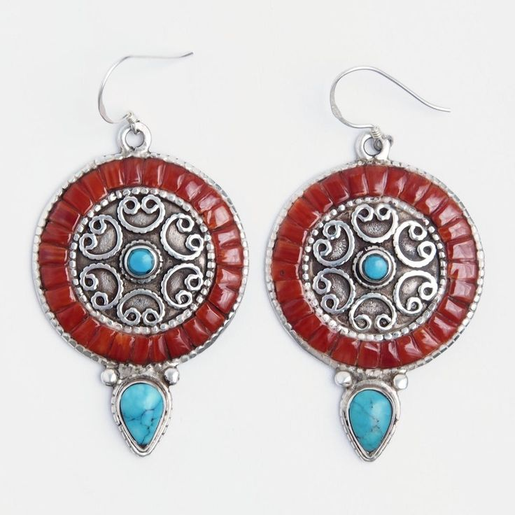 Cercei rotunzi mandala, argint, coral și turcoaz tibetan, Nepal #metaphora #silverjewelry #silverjewellery #nepal #earrings  #turquoise #coral
