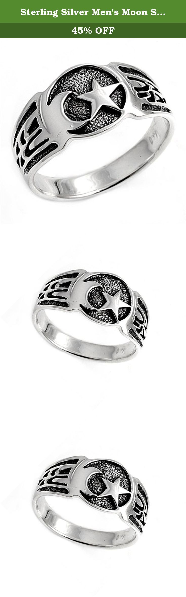 Sterling Silver Men's Moon Star Tribal Ring Vintage 925 Band 12mm Size 15 (RNG21011-15). All our silver jewelry is crafted from .925 silver also commonly referred to as sterling silver. Sterling silver is the standard for beautiful high-quality silver jewelry and can not be replicated by lower priced silver plated jewelry. It is 92.5% pure silver, mixed with alloys to add strength and durability to stand the test of time. We promise superior service which includes fast shipping, great...
