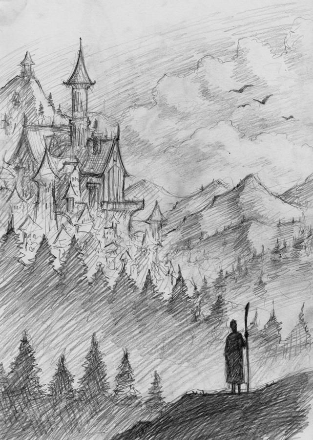 Just a typical fantasy landscape sketched during my Christmas holiday. Pencils, December 2012.