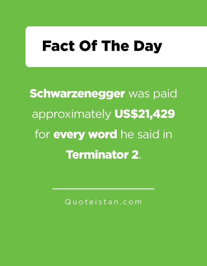 Schwarzenegger was paid approximately US$21429 for every word he said in Terminator 2. http://www.quoteistan.com/2016/12/schwarzenegger-was-paid-approximately.html