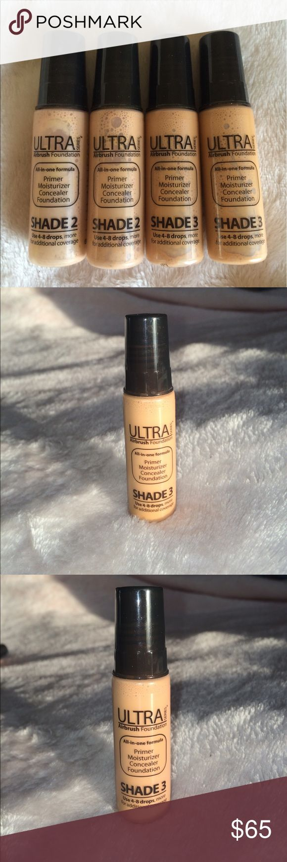 4 Luminess Air Airbrush All-in-one Foundation 4 Luminess Air Airbrush All-in-one Foundation: two in the shade 2, two in the shade 3. Barely used. The one I used the most was a shade 2, but still has more then 80% or product in the bottle. Luminess Air Makeup Foundation