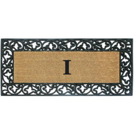 Inspired Accents Rubber Coir Mat, Acanthus, Monogrammed, Multicolor