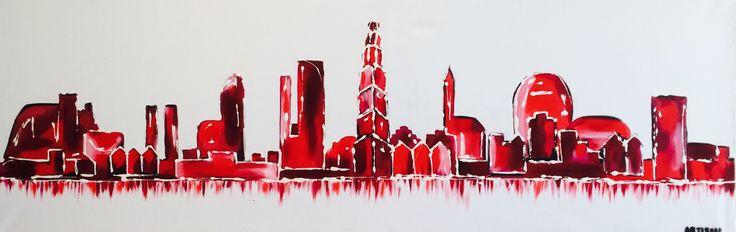 Weer een nieuwe skyline afgeleverd! Deze portretten van Groningen (of een Andrew stad) maak ik ook geregeld in opdracht! Dus met de kleuren en gebouwen die bij jou passen.... Deze keer strak en met veel roodtinten!