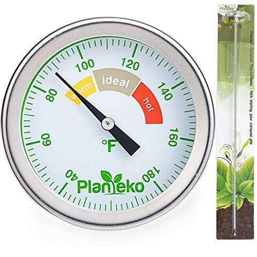 Weather Thermometers - Compost Thermometer  Premium Stainless Steel Soil Thermometer Extra Thick Probe  Color Coded Fahrenheit Dial  Extra Long 20 Inch Stem  Ideal for Backyard Composting * Find out more about the great product at the image link. (This is an Amazon affiliate link)
