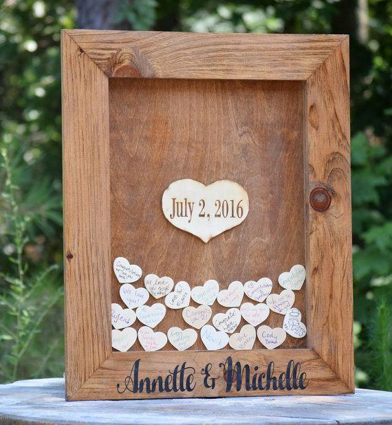 Bruiloft gast boeken alternatief hart Drop door CountryBarnBabe
