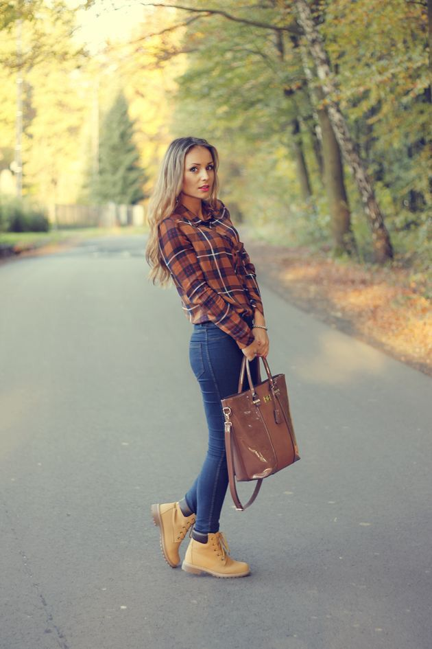 Casual Look - Plaid Flannel Shirt and Boots.