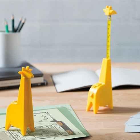 A giraffe tape measure who's willing to stick his neck out for you.