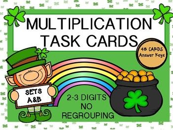 A great way to have your students practice multiplication skills.  Task cards can be printed on card stock and laminated for durability and  reuse.  Great for Math Centers! Included in Set A:  24 Task Cards (2 digits x 1 digit, No Regrouping), Student Record Sheet and Answer Key.Included in Set B:  24 Task Cards (3 digits x 1 digit, No Regrouping), Student Record Sheet and Answer Key.