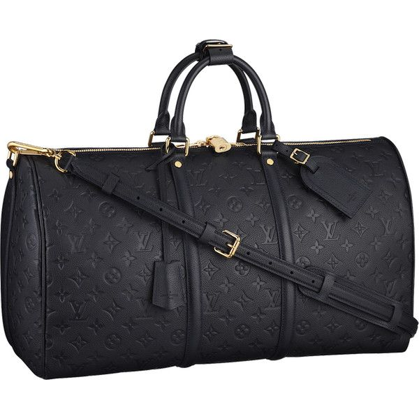 Louis Vuitton Monogram Empreinte Keepall 45 Bandoulière featuring polyvore, bags, perrie, luggage, bolsos and accessories
