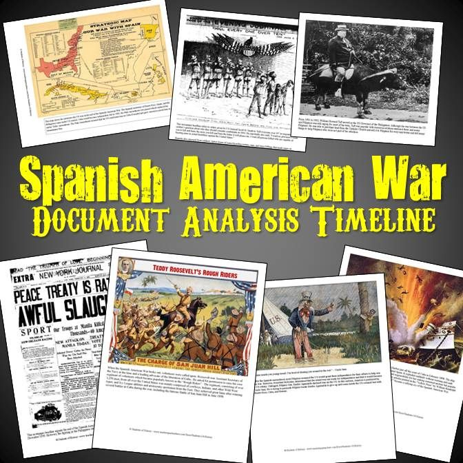 This activity features 10 primary sources from the Spanish American War that students analyze using questions organized onto a timeline. The documents include cartoons, newspapers, lithographs, maps, and pictures all related to each aspect of the war.