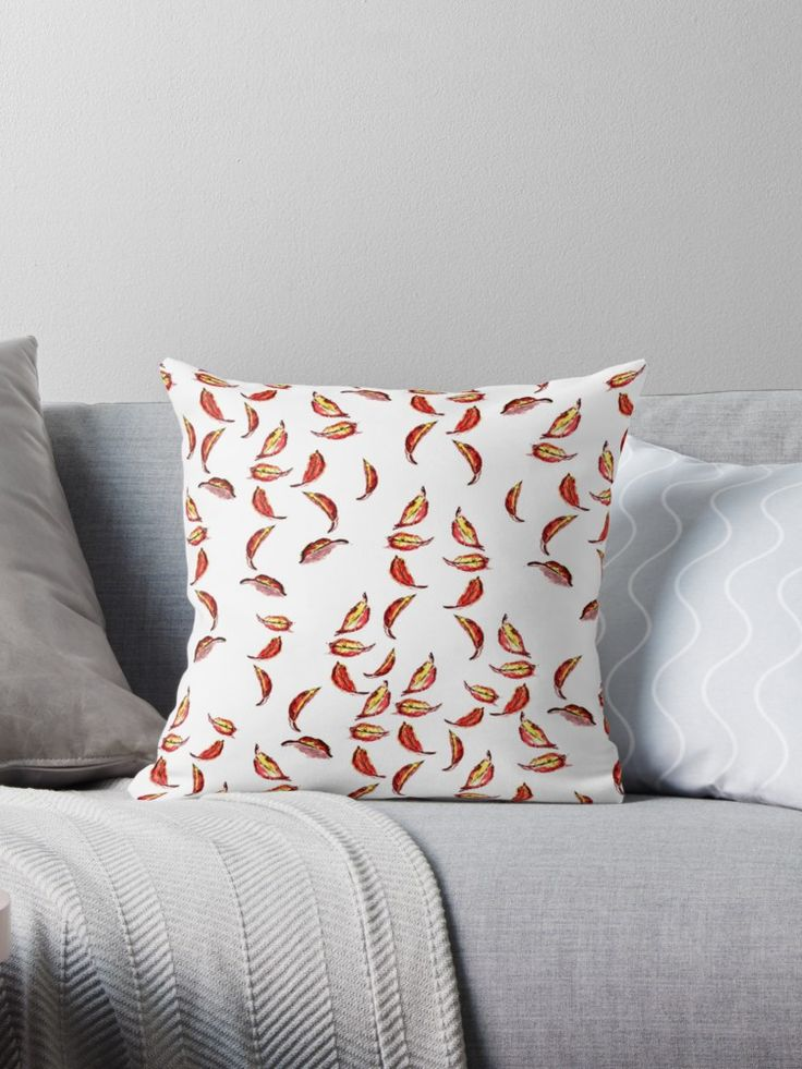 'Autumn Leaves' pillow design from Redbubble. Patterned design made from handpainted image using black pen and coloured inks. • Also buy this artwork on home decor, apparel, phone cases, and more. #redbubble #leaves #season #autumn #fall #pillows