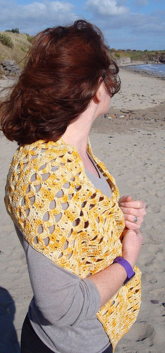 SALE Crochet  Shawl Cotton Yellow Hand Made in Ireland. $40.00, via Etsy.