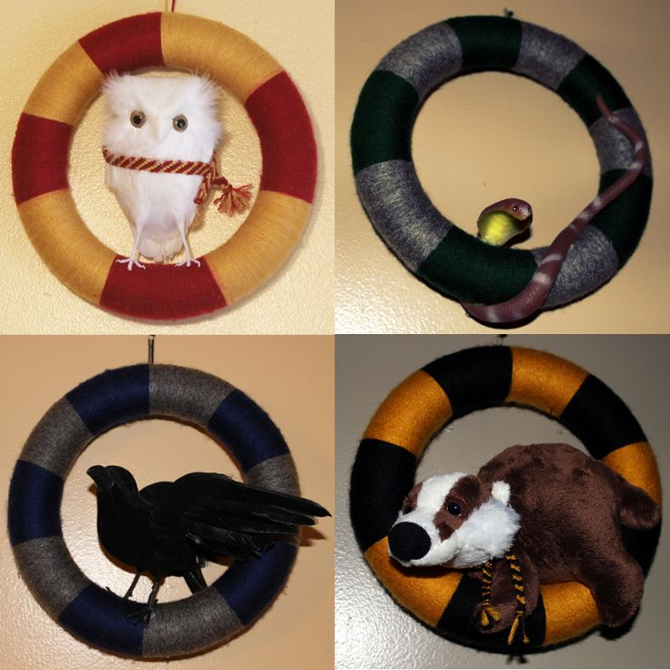 Wizard Wreaths (Harry Potter Hogwarts Inspired wreaths) $35 with house colors and animal/rodent/pest of choice depending on availability.  http://www.facebook.com/Kyatastic http://www.kyatastic.etsy.com