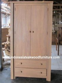 Wardrobe 2 door 2 drawer - Teak wood Contemporary style  wardrobe with 2 hanging cabinet up, and 2 drawers storage down. Interested to buy now? please email to zayuk@wisanka.com or call +628112648026
