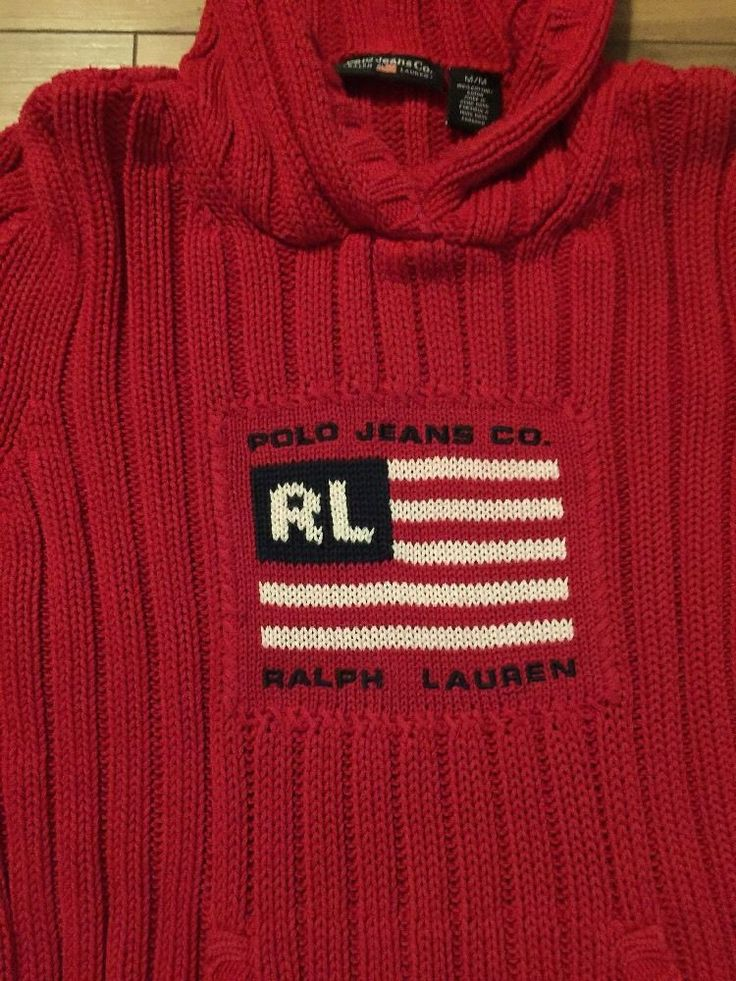 Polo Ralph Lauren Women's Sweater Cable Knit Vintage USA Flag Small Hoodie 80'  | eBay