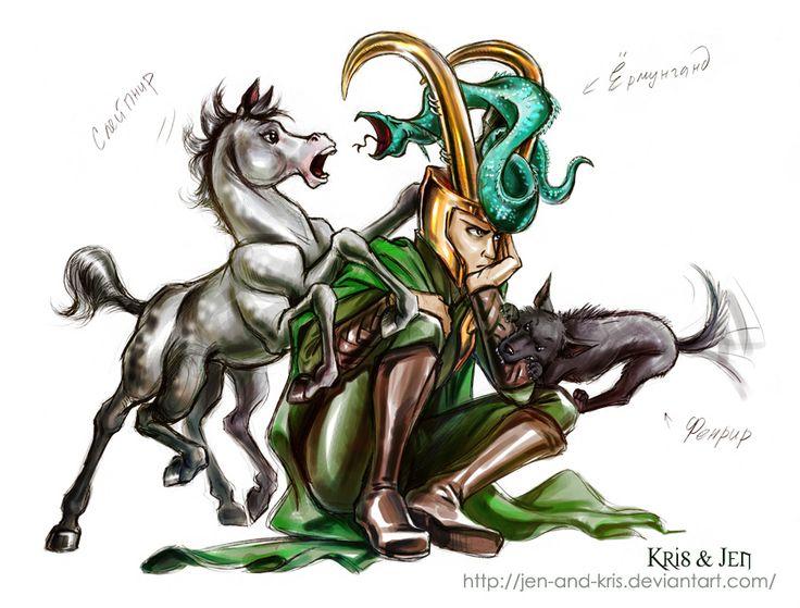 http://fc02.deviantart.net/fs71/f/2011/227/6/4/loki__s_children__by_jen_and_kris-d46lr9z.jpg  Loki's Children - Sleipnir, Fenrir, and Jormungand