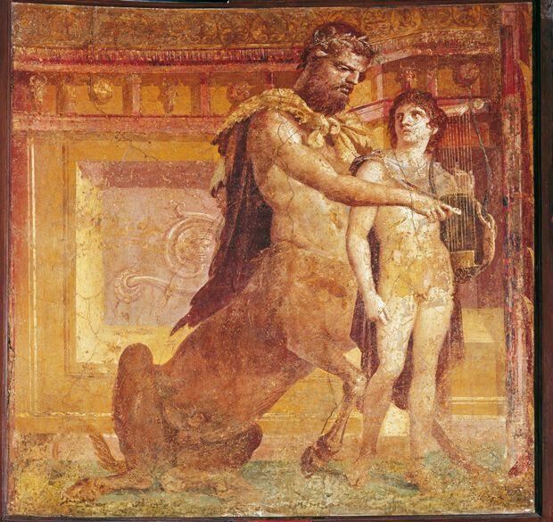 Achille e Chirone.  45-79  d.C. affresco dalla cd Basilica di Ercolano.  Museo Archeologico Nazionale di Napoli