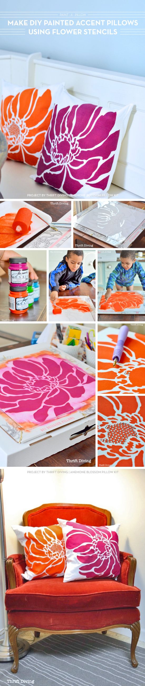 Cutting Edge Stencils shares how to DIY accent pillows using the Anemone Blossom Paint-A-Pillow kit. http://paintapillow.com/index.php/anemone-blossom-paint-a-pillow-kit.html