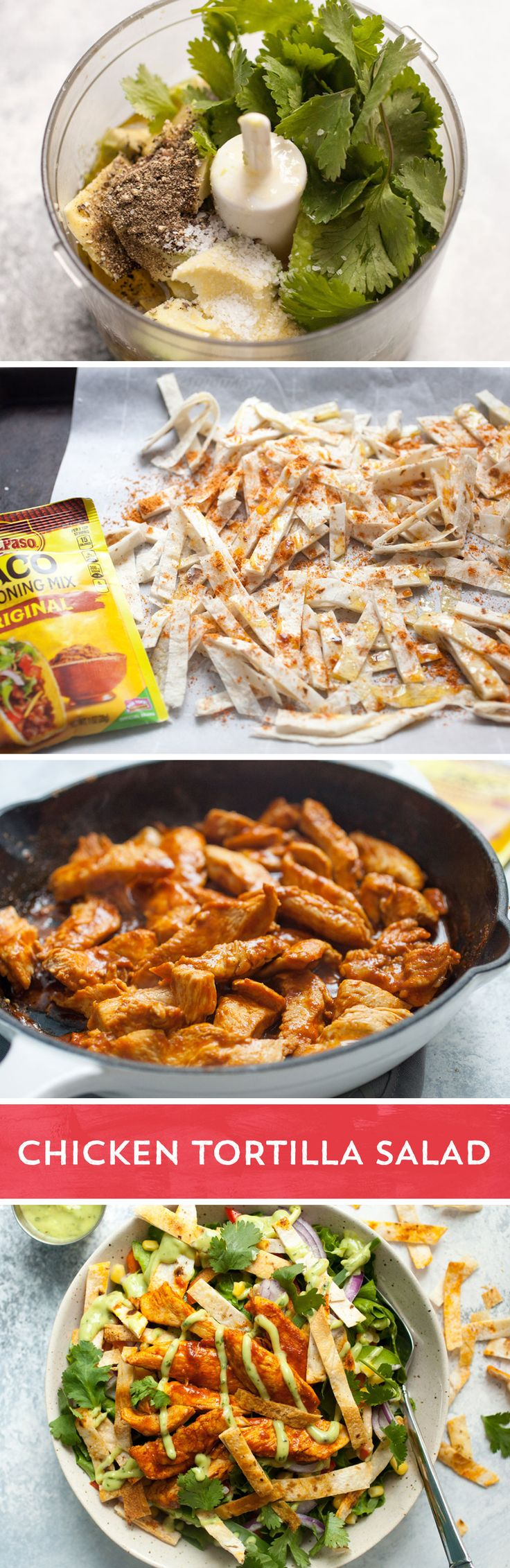Who said healthy has to be boring? Definitely not with this delicious chicken tortilla salad from @macheesmo! Lettuce, onion, peppers, and corn act as the perfect bed for thinly sliced chicken breast flavored with Old El Paso™ chicken seasoning. Homemade crispy flour tortilla strips coated in Old El Paso™ taco seasoning bring the flavor to a whole new level and that is before you top it off with an easy homemade avocado vinaigrette. This salad is anything but boring!