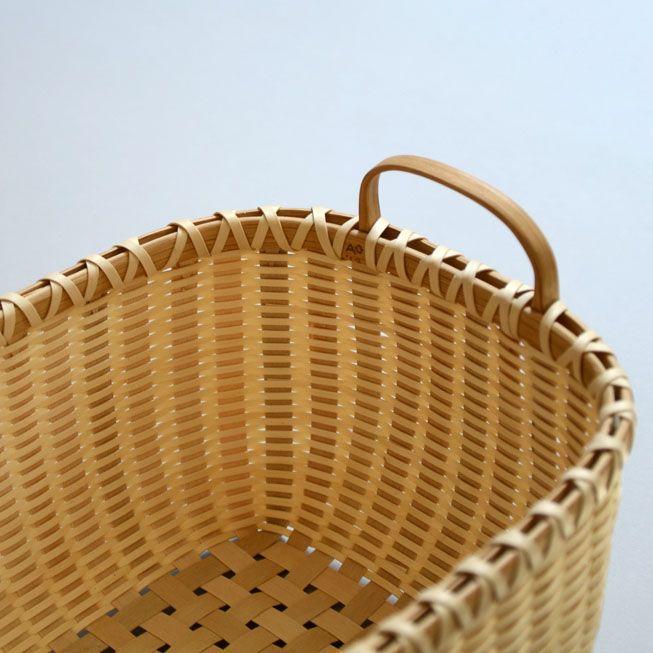 """Detail of  Alice Ogden basket,  Ash """"Lily"""" Basket, with Hand Carved Handle"""
