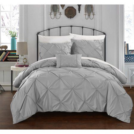 Chic Home 3-Piece Whitley Pinch Pleated, ruffled and pleated complete Twin Duvet Cover Set Silver Shams and Decorative Pillows included