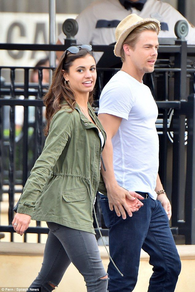 Dancing date: Derek Hough stepped out hand in hand with Hayley Erbert on a date at Disneyland, California, on Thursday