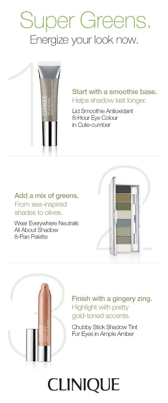 Energize your look with a pop of green. Clinique Lid Smoothie in Cute-cumber helps shadow last longer. Try Clinique Wear Everywhere Neutrals All About Shadow in Greens for sea-inspired and olive shades. Finish with a gingery zing by applying Chubby Stick Shadow Tint For Eyes in Ample Amber for gold-toned accents.