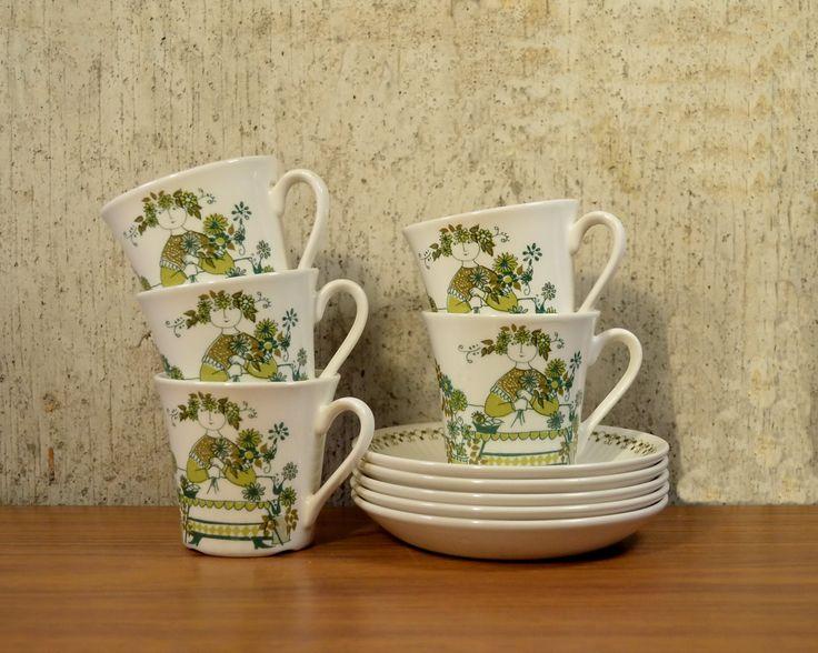 Vintage Cups Saucers Figgjo Flint Turi Design Market x 5 by NeedorWant on Etsy