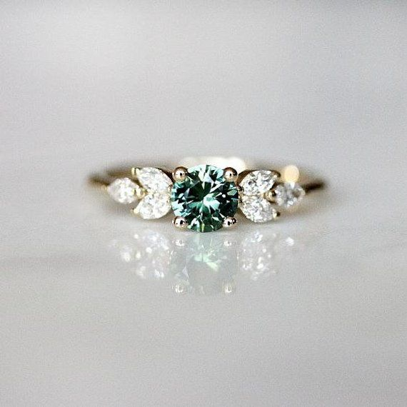 Awesome Teal sapphire engagement ring | Leaf engagement ring | Sapphire…