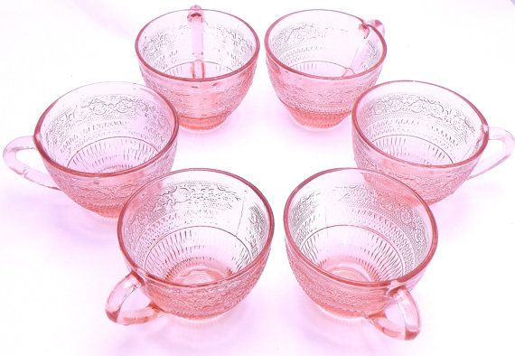 Six pink cups or punchbowl glasses.  Use coupon code  FRIDAY2014 till Dec. 1 for a 20% discount. https://www.etsy.com/ca/listing/190140588/six-pink-cups-or-punchbowl-glasses