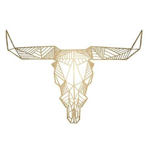 Gold Geometric Bull - Original Fashiontats Metallic Jewelry Temporary Tattoos. Lasts 5-7 days even with swimming and bathing!. Easy to put on and easy to remove!. Skin safe ingredients.