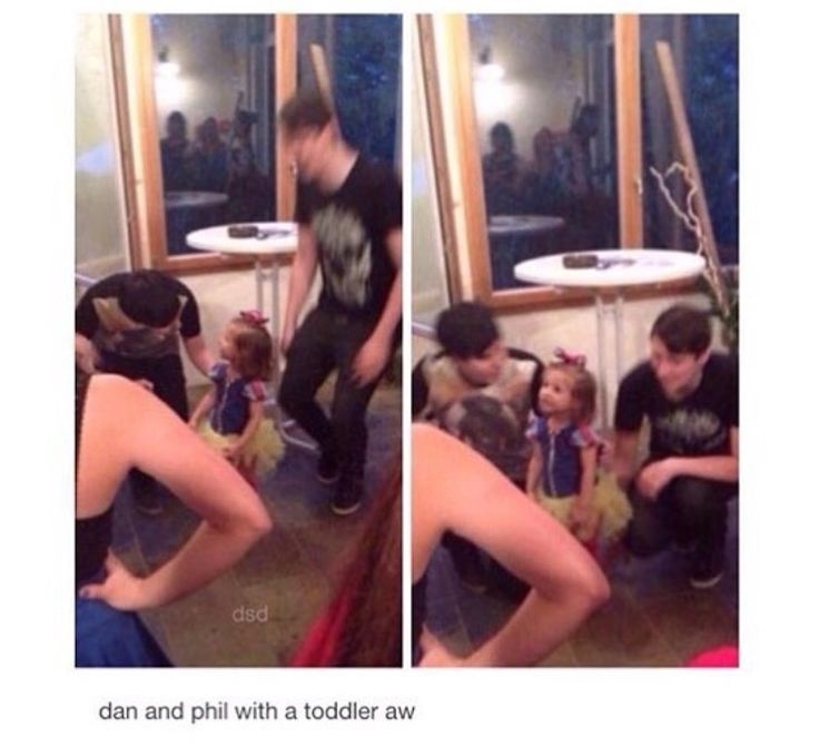 Dan and phil with a toddler aww