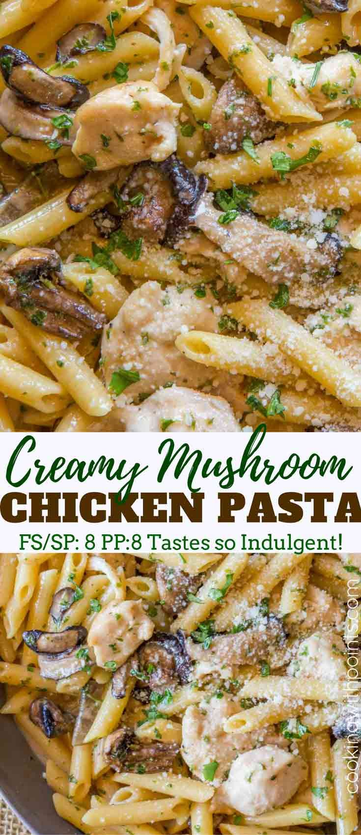 Weight Watchers chicken and mushroom pasta with shallots and shiitake …   – Healthy recipes