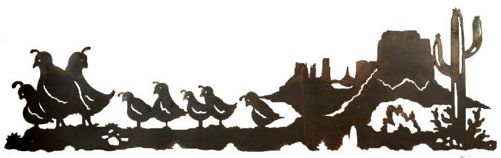 Desert Quail Family Scene rustic southwestern Wall Sculpture 57 x 18 southwest decor ironwood industries american made usa