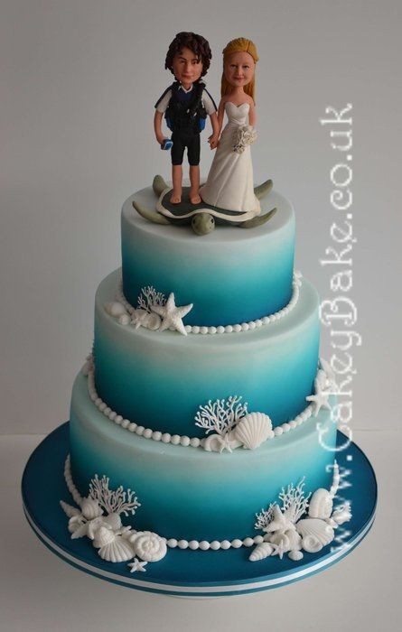 Air brushed sea themed wedding cake