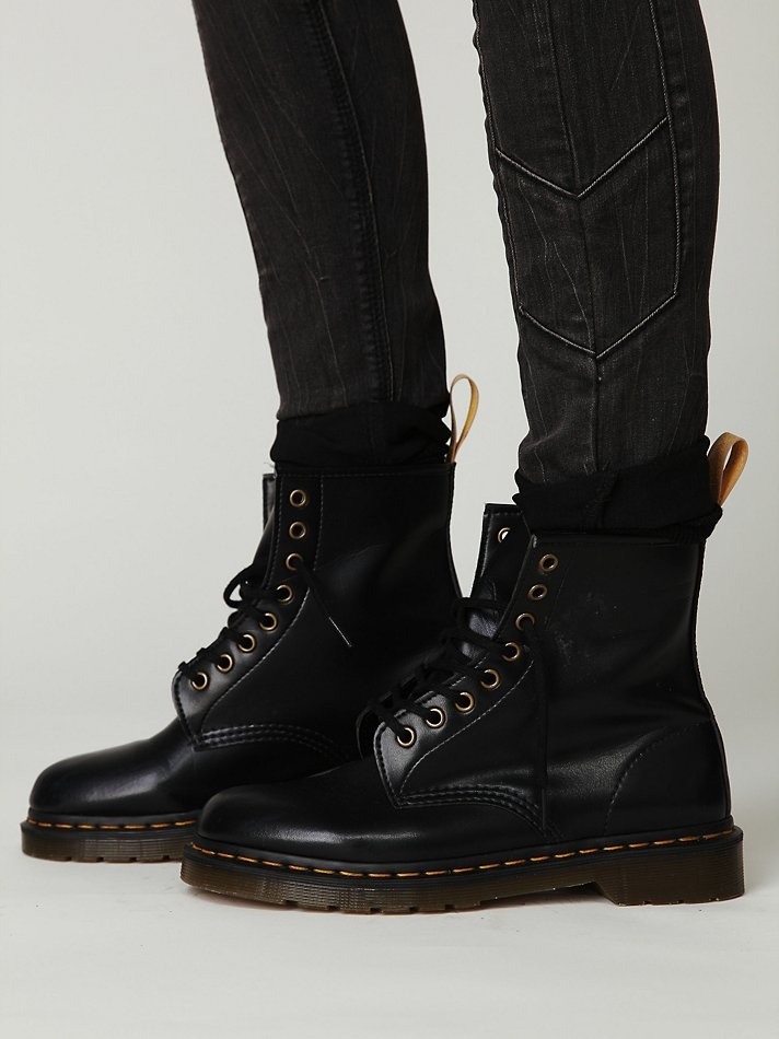 Doc Martens are always a good choice.  Always.  They go with everything.  I have a pair just like this, but actual leather - my starter pair.