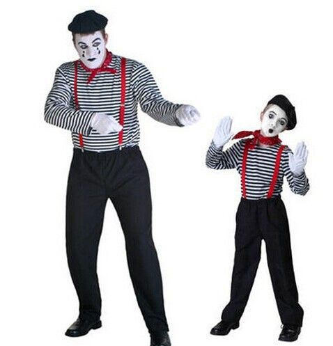 Полосатый клоун костюмы для взрослых и детей костюм клоуна хэллоуин клоун косплей носить смешные костюмы хэллоуин пару костюмов